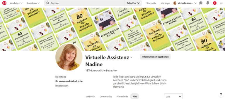 Pinterest Virtuelle Assistent Nadine
